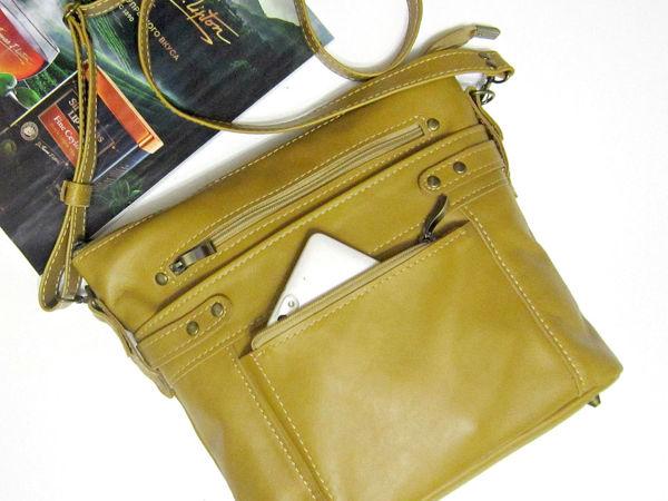 57c10ba4bbd0 Шьём женскую сумку «Золотой шафран» из натуральной кожи   Ярмарка Мастеров  - ручная работа