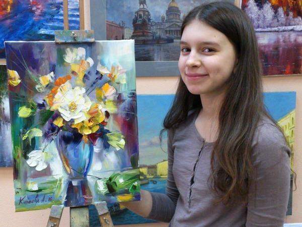 Мастер-класс масляной живописи для взрослых и детей в СПб как нарисовать цветы мастихином | Ярмарка Мастеров - ручная работа, handmade