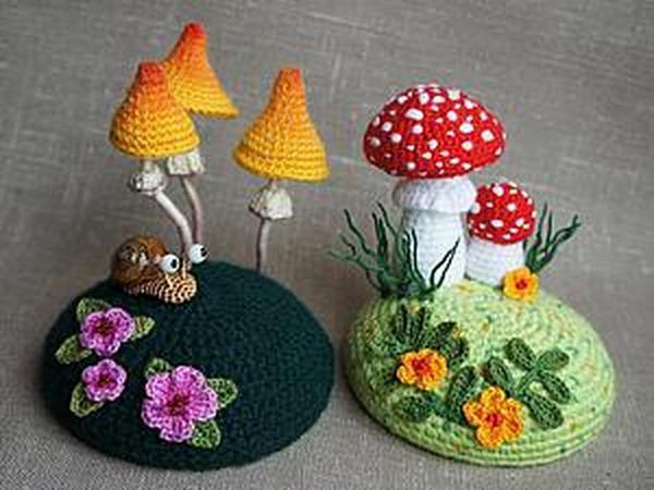 Вяжем крючком игольницу «По грибы». Часть 2 | Ярмарка Мастеров - ручная работа, handmade