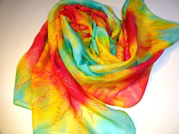 Акция на батик платок из натурального крепдешина и летний шарфик с бесплатной доставкой! | Ярмарка Мастеров - ручная работа, handmade