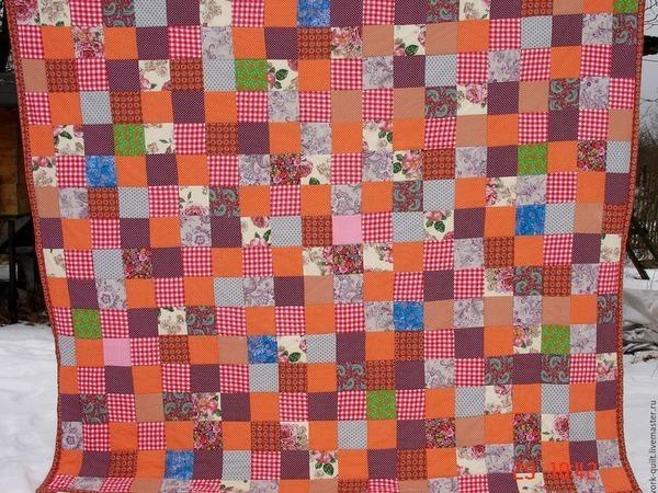Оранжевое Лоскутное Одеяло ,покрывало ,плед печворк,квилт | Ярмарка Мастеров - ручная работа, handmade
