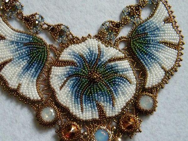 Вышиваем бисером колье «Голубые цветы» | Ярмарка Мастеров - ручная работа, handmade