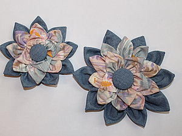 Цветок на сумку из джинсы и хлопка   Ярмарка Мастеров - ручная работа, handmade