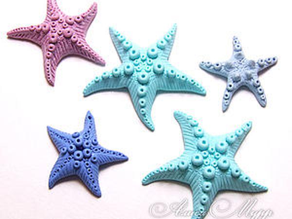 Морские звёзды из полимерной глины | Ярмарка Мастеров - ручная работа, handmade