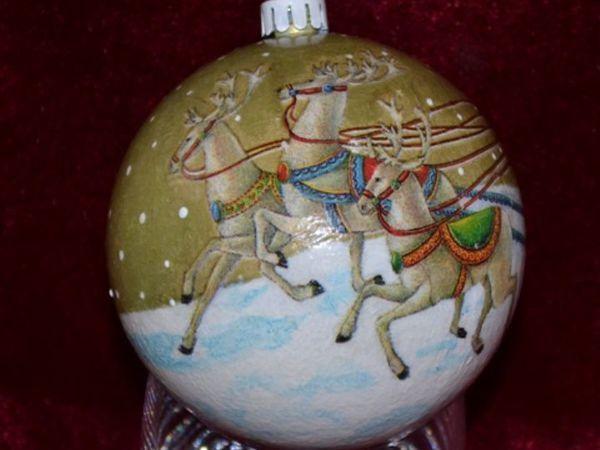 Елочная игрушка своими руками. Декорируем новогодний шарик | Ярмарка Мастеров - ручная работа, handmade