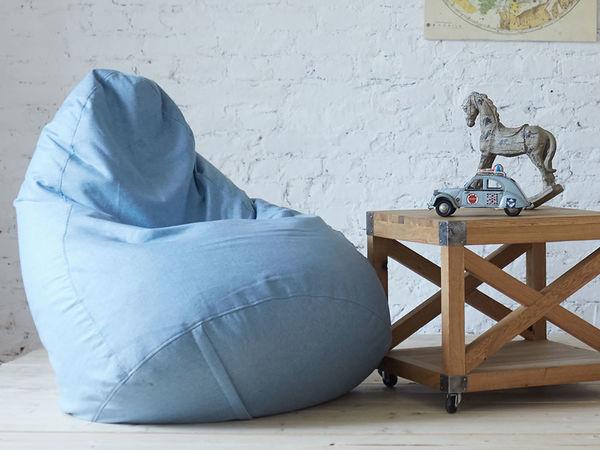 Поздравляю с Новым годом и дарю голубое кресло-мешок   Ярмарка Мастеров - ручная работа, handmade