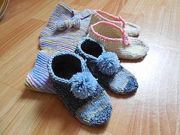 Вяжем домашние детские тапочки | Ярмарка Мастеров - ручная работа, handmade