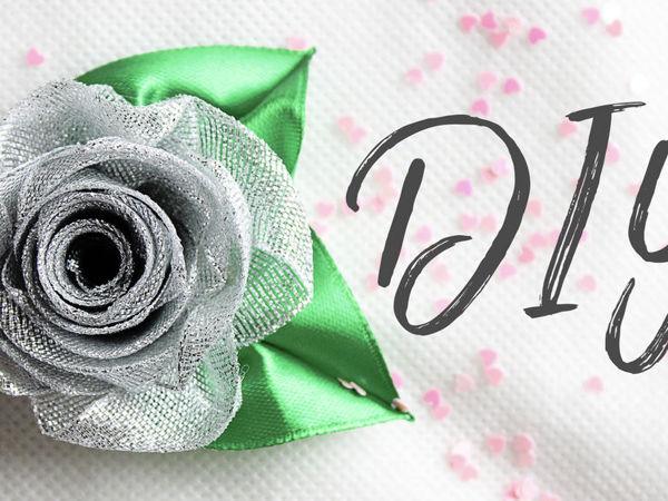 Создаем блестящую розу из парчовой ленты | Ярмарка Мастеров - ручная работа, handmade