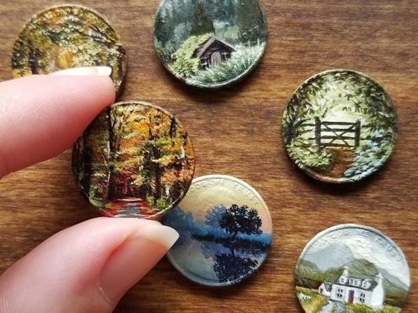 Миниатюрный холст прямо из кармана! Крохотная живопись на монетках американки Брианны Мари   Ярмарка Мастеров - ручная работа, handmade