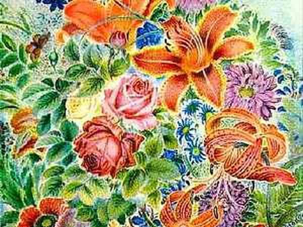Огородные цветы Катерины Билокур | Ярмарка Мастеров - ручная работа, handmade