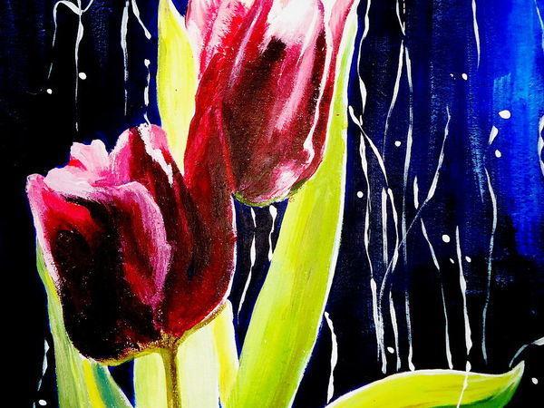 Пишем тюльпаны акрилом: пошаговый мастер-класс | Ярмарка Мастеров - ручная работа, handmade
