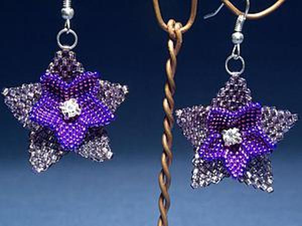 Плетем серьги из бисера «Полуночные цветы» | Ярмарка Мастеров - ручная работа, handmade