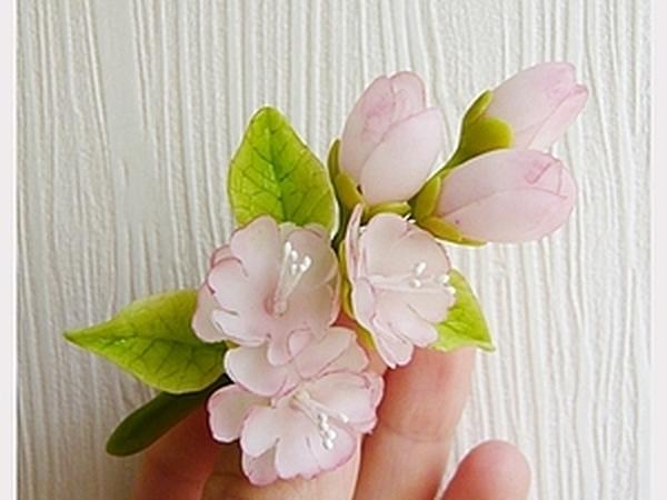 Лепим веточку сакуры из полимерной глины | Ярмарка Мастеров - ручная работа, handmade