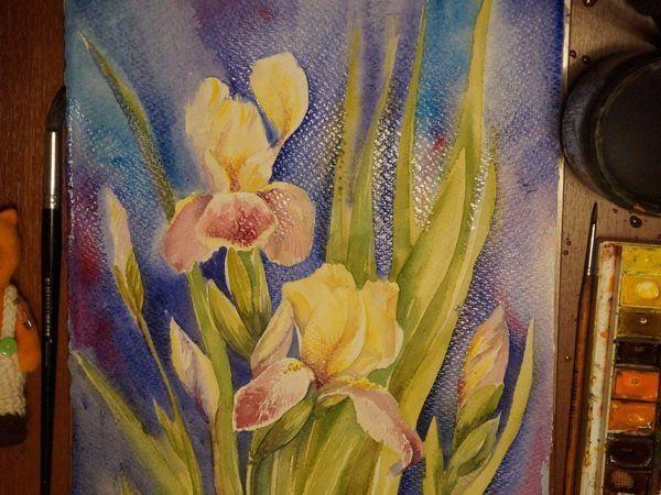 Рисуем ирисы акварелью | Ярмарка Мастеров - ручная работа, handmade