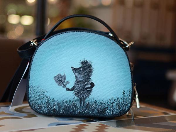 Видео сумочки с ручной росписью Ёжик в тумане | Ярмарка Мастеров - ручная работа, handmade