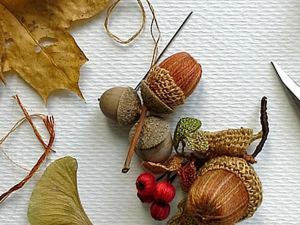 Делаем осенний желудь: оплетаем деревянную бусину | Ярмарка Мастеров - ручная работа, handmade