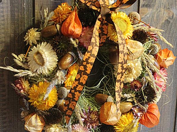 Осенний вальс: мастерим венок из природных материалов | Ярмарка Мастеров - ручная работа, handmade