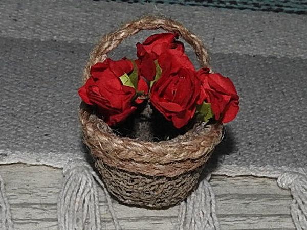 Создаем миниатюрную корзинку для цветов | Ярмарка Мастеров - ручная работа, handmade