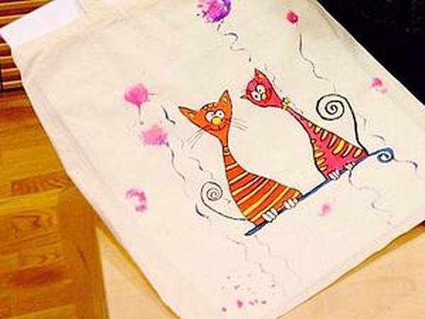 Роспись текстильных изделий: эко - сумка.   Ярмарка Мастеров - ручная работа, handmade