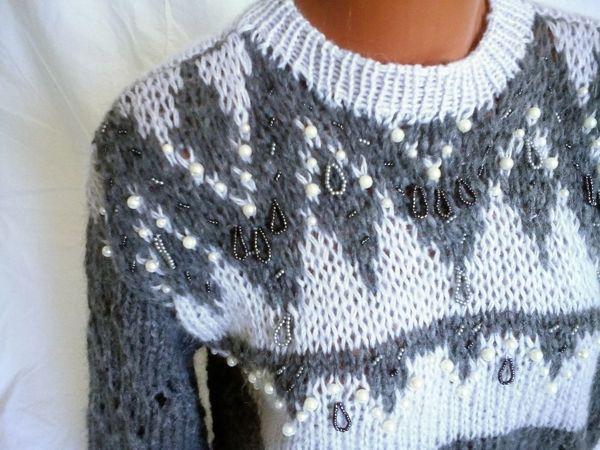 Новинка! Дизайнерский свитер расшит вручную бисером и бусинами!   Ярмарка Мастеров - ручная работа, handmade