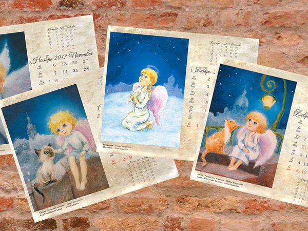 Календарь 2017 Рождественские ангелы. Новый Год не за горами! | Ярмарка Мастеров - ручная работа, handmade