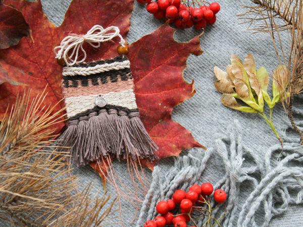 Weave Textile Pendant In Boho Style | Livemaster - handmade