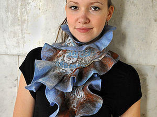 Шарф с воланами и элементами нуно-войлока | Ярмарка Мастеров - ручная работа, handmade