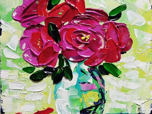 Как нарисовать букет роз мастихином | Ярмарка Мастеров - ручная работа, handmade