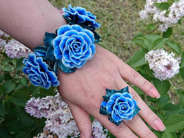 Создаем браслет  «Синий цвет» из полимерной глины | Ярмарка Мастеров - ручная работа, handmade