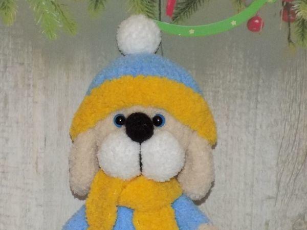 Вяжем спицами пёсика Шарика | Ярмарка Мастеров - ручная работа, handmade