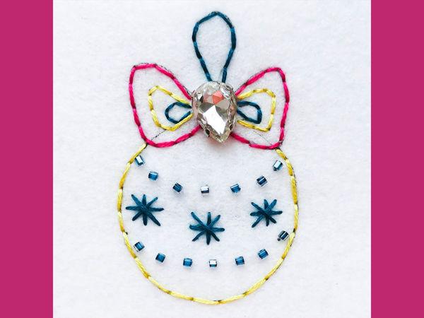 Мастер-класс для детей: вышивка «Елочный шар» | Ярмарка Мастеров - ручная работа, handmade