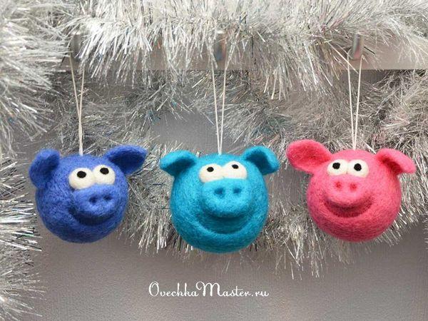 Свиношарики из шерсти | Ярмарка Мастеров - ручная работа, handmade