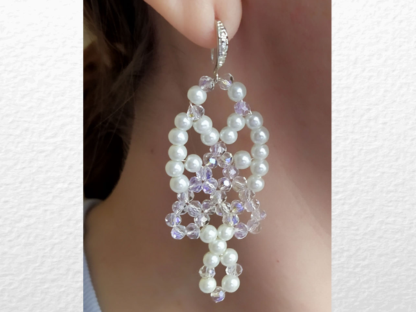 Создаем белые серьги с жемчугом и кристаллами своими руками | Ярмарка Мастеров - ручная работа, handmade