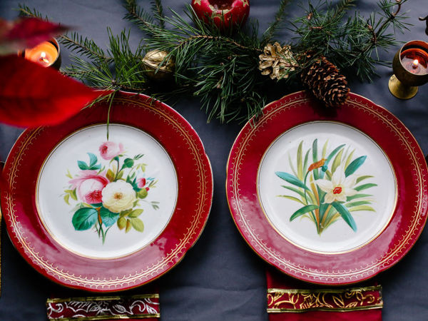 Антикварные фарфоровые обеденные тарелки с цветами ручная роспись Англия | Ярмарка Мастеров - ручная работа, handmade
