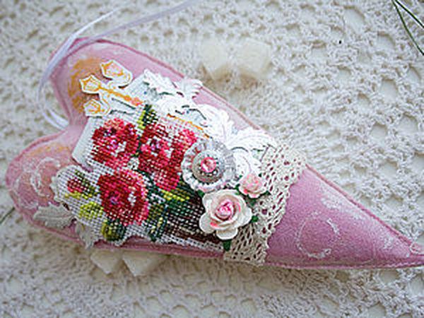 Сердце  в стиле Шебби Шик | Ярмарка Мастеров - ручная работа, handmade