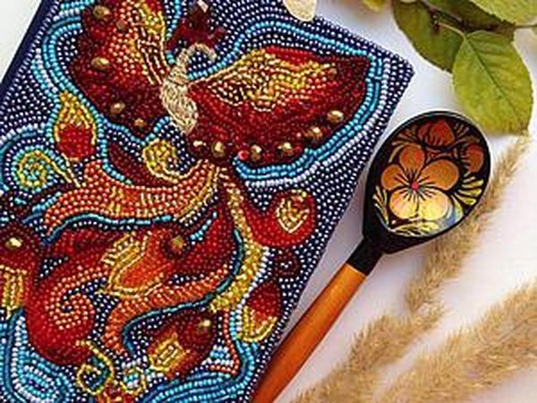 Превращаем обычный ежедневник в сказочный: украшаем блокнот вышивкой Жар-Птицы | Ярмарка Мастеров - ручная работа, handmade