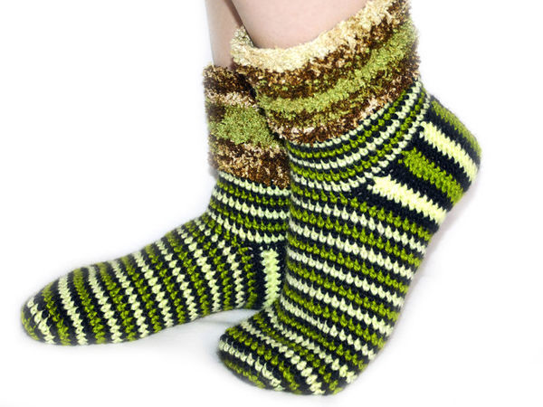 Вяжем крючком сапоги-носки из остатков пряжи   Ярмарка Мастеров - ручная работа, handmade
