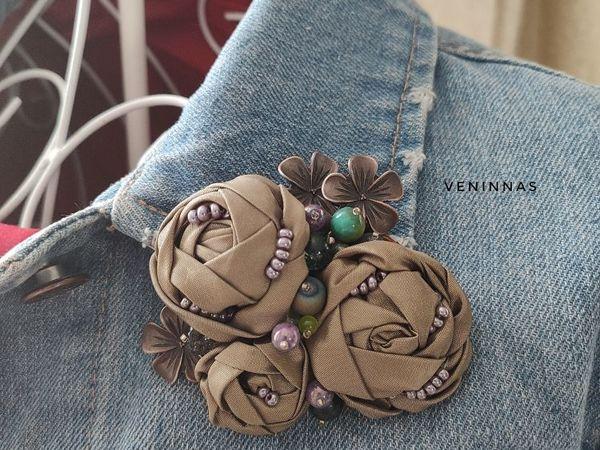Мастерим текстильную брошь в стиле Бохо. Розочки из ткани | Ярмарка Мастеров - ручная работа, handmade