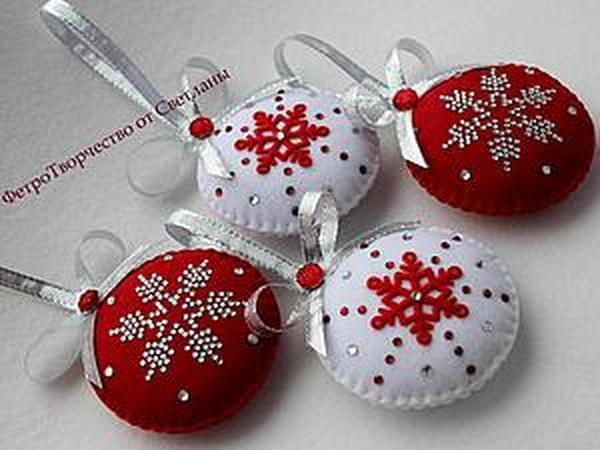 Шьем симпатичные елочные игрушки из фетра   Ярмарка Мастеров - ручная работа, handmade