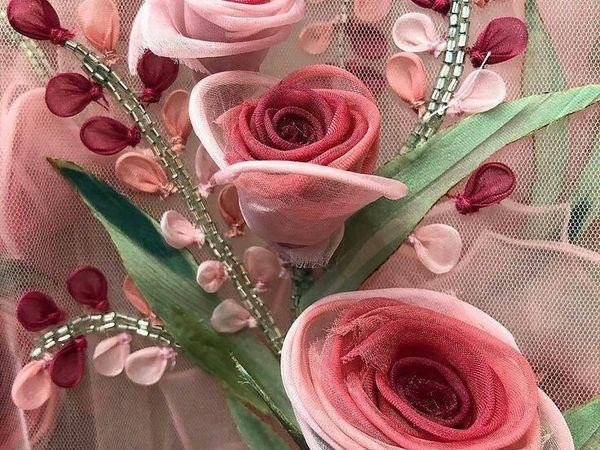 Цветы из ткани в работах дизайнеров и мастеров вышивки   Ярмарка Мастеров - ручная работа, handmade