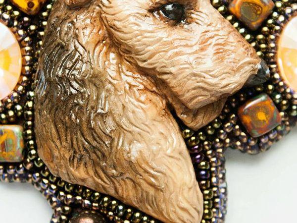 Лейкленд-терьер. Кулон из бисера с кристаллами | Ярмарка Мастеров - ручная работа, handmade