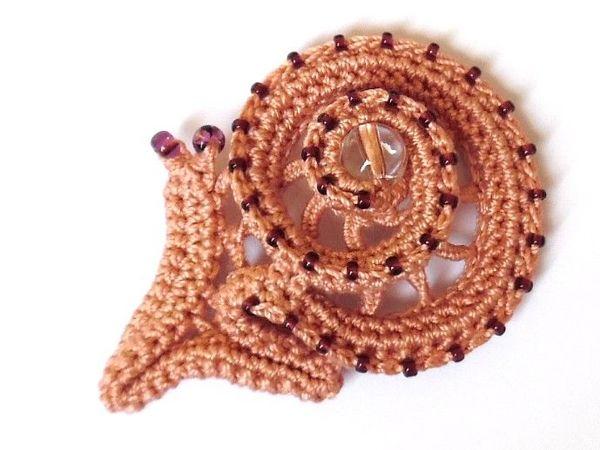 Делаем улитку с бисером из вязаного жгута | Ярмарка Мастеров - ручная работа, handmade