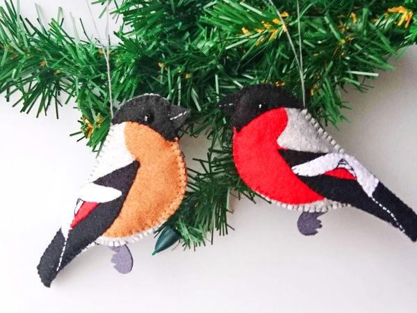 Шьем елочные игрушки, снегирей из фетра | Ярмарка Мастеров - ручная работа, handmade