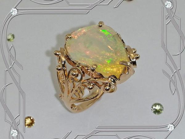 Кольцо «Maldives-опал» золото 585 пробы, натуральный опал | Ярмарка Мастеров - ручная работа, handmade