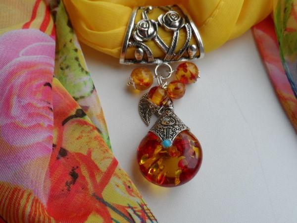 Украшение-оберёг для шарфа или платка   Ярмарка Мастеров - ручная работа, handmade