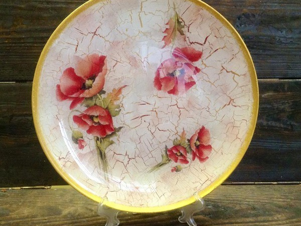 Обратный декупаж тарелки + Кракелюр или художественный фон   Ярмарка Мастеров - ручная работа, handmade