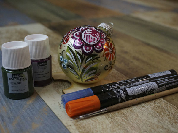 Расписываем елочную игрушку цветами | Ярмарка Мастеров - ручная работа, handmade