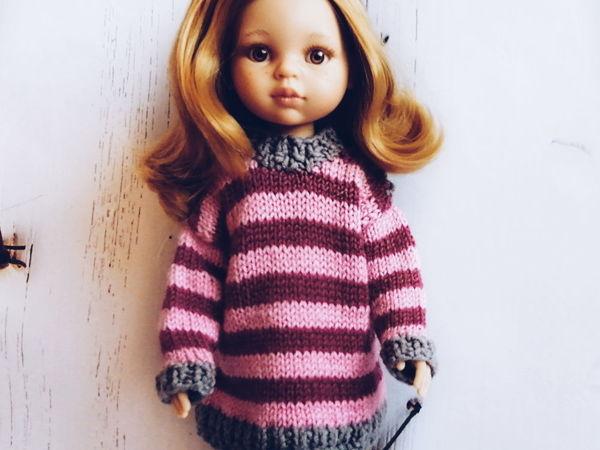 Вяжем спицами пуловер для куклы Паола Рейна спицами | Ярмарка Мастеров - ручная работа, handmade