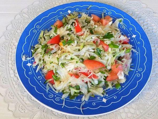 Овощной салат из свежей капусты с редисом   Ярмарка Мастеров - ручная работа, handmade