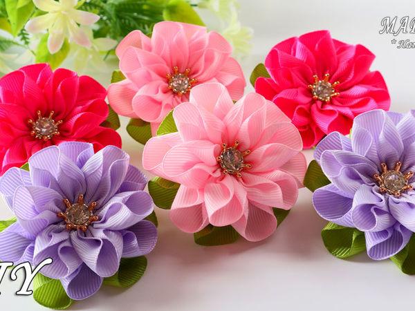 Делаем цветы из лент. Быстро, легко, оригинально | Ярмарка Мастеров - ручная работа, handmade